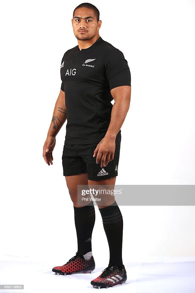 Ofa Tu'ungafasi of the All Blacks poses for a portrait during a New Zealand All Black portrait session on May 29, 2016 in Auckland, New Zealand.