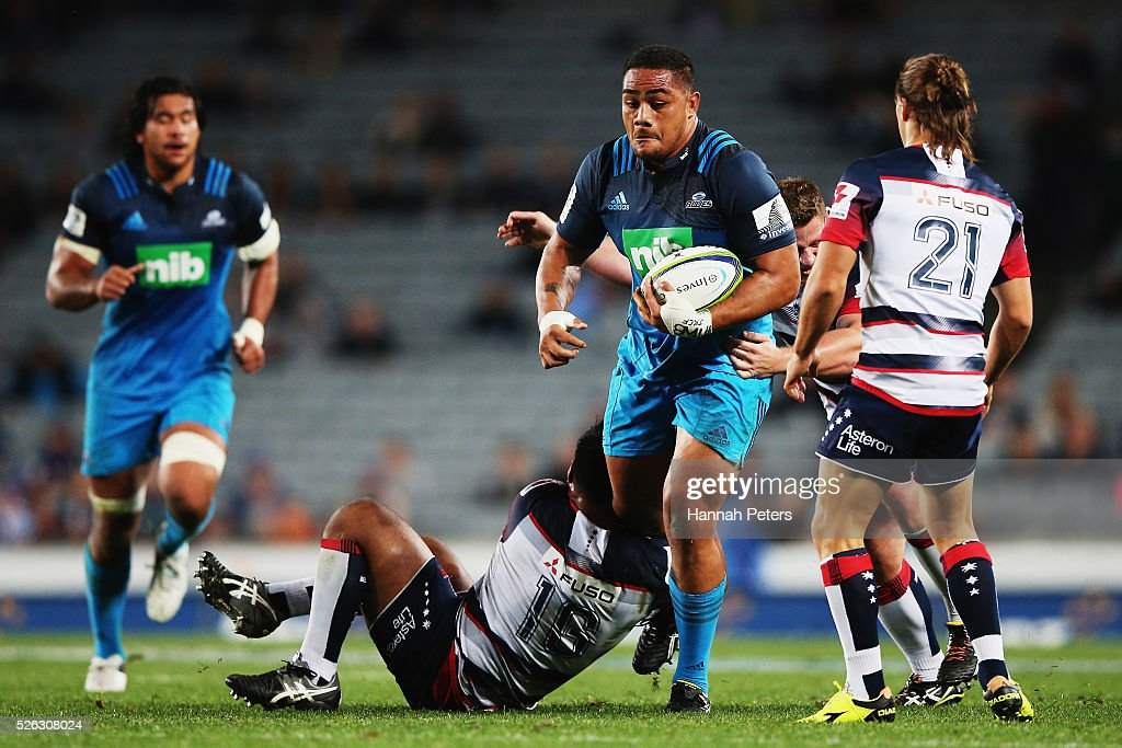 Ofa Tuungafasi of the Blues charges forward during the Super Rugby round ten match between the Blues and the Melbourne Rebels at Eden Park on April 30, 2016 in Auckland, New Zealand.