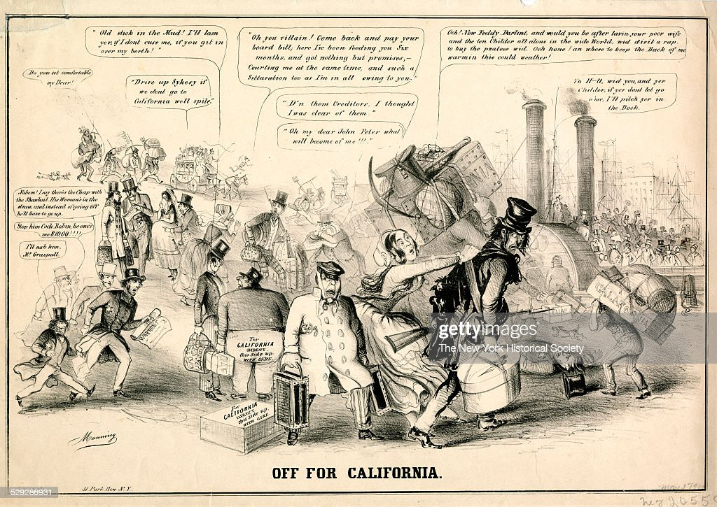 Off For California 1849 Lithograph by Manning