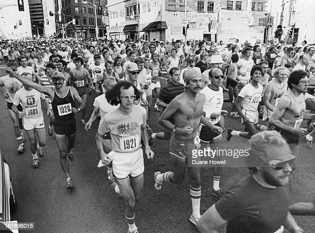 MAY 7 1979 Off On A Long Run Hundreds of marathon runners leave the starting area of the United Bank of Denver Marathon race on their way to a...