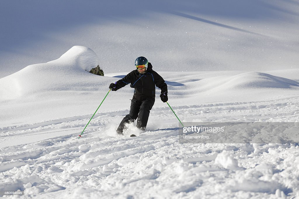 Off piste skiing - Powder snow : Stock Photo