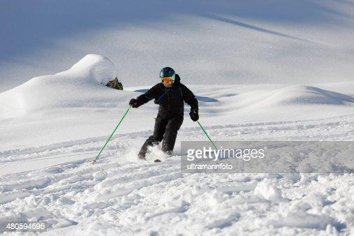 Off piste skiing - Powder snow : Stock Photo