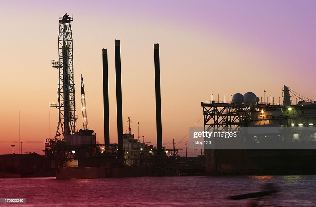 Off shore Drilling rig  dry docks for repair Galveston Texas : Stock Photo