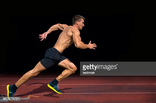 Off the Blocks, Athlete Practicing Start on 100m Sprint