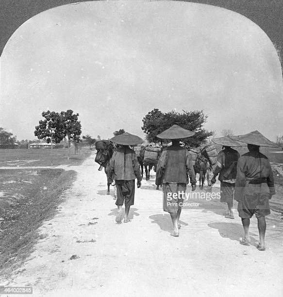 Off to China from Bhamo Burma 1908 Located in northern Burma Bhamo is 65 miles west of the border with the Chinese province of Yunnan Stereoscopic...