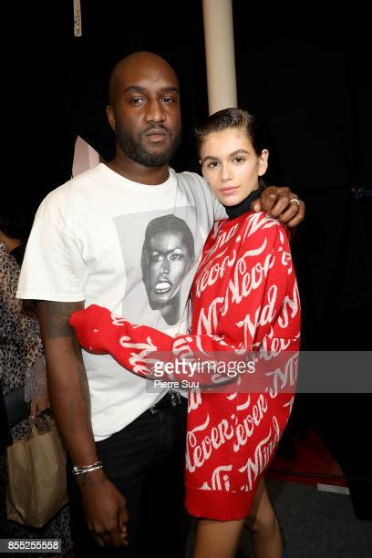 Off White Designer Virgil Abloh and Kaia Gerber pose backstage at the Off/White show as part of the Paris Fashion Week Womenswear Spring/Summer 2018...