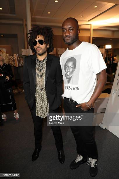Off White Designer Virgil Abloh and Lenny Kravitz pose backstage at the Off/White show as part of the Paris Fashion Week Womenswear Spring/Summer...