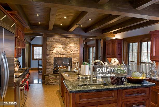 Off-center view of rustic luxury kitchen