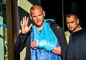 Offduty US Air Force Spencer Stone one of the men to overpower the gunman who opened fire with an assault rifle on a highspeed train gestures as he...