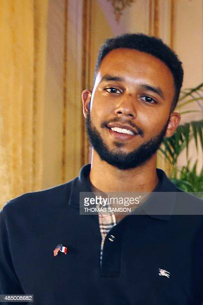 Offduty US serviceman Anthony Sadler poses after a press conference at the US embassy in Paris on August 23 two days after 25yearold Moroccan Ayoub...