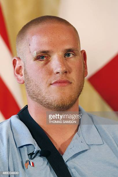 Offduty US serviceman Spencer Stone poses after a press conference at the US embassy in Paris on August 23 two days after 25yearold Moroccan Ayoub...