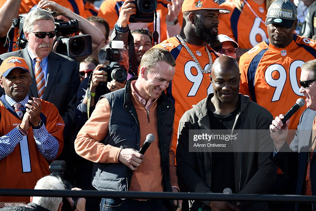 Offensive captain Peyton Manning and defensive captain Demarcus Ware are introduced during the Denver Broncos Super Bowl championship celebration and parade on Tuesday February 9, 2016.