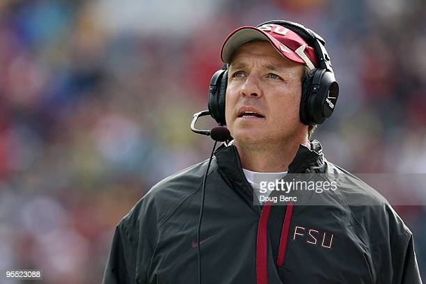 Offensive coordinator and future head coach Jimbo Fisher of the Florida State Seminoles walks the sidelines while taking on the West Virginia...