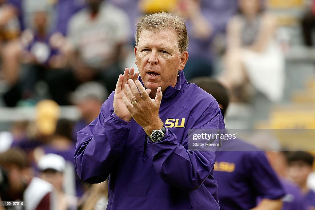 Offensive coordinator Cam Cameron of the LSU Tigers watches action prior to a game against the Louisiana Monroe Warhawks at Tiger Stadium on September 13, 2014 in Baton Rouge, Louisiana. LSU won the game 31-0.