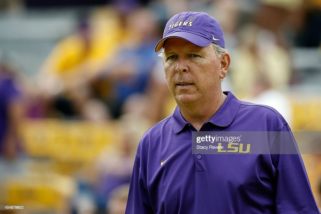 Offensive coordinator Cam Cameron of the LSU Tigers watches his team prior to a game against the Sam Houston State Bearkats at Tiger Stadium on September 6, 2014 in Baton Rouge, Louisiana. LSU won the game 56-0.