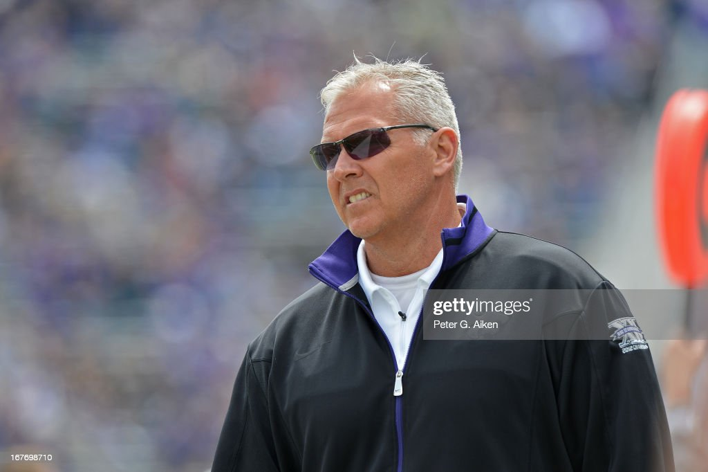 Offensive coordinator Dana Dimel of the Kansas State Wildcats during the Purple and White Spring Game on April 27, 2013 at Bill Snyder Family Stadium in Manhattan, Kansas.