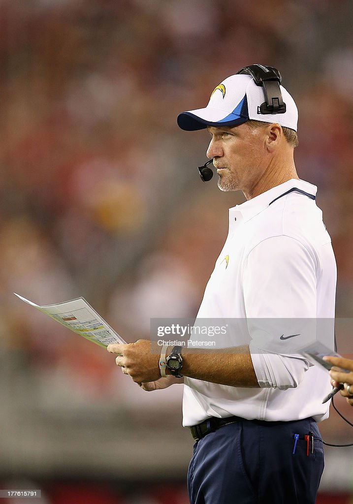 Offensive coordinator Ken Whisenhunt of the San Diego Chargers watches from the sidelines during the preseason NFL game against the Arizona Cardinals at the University of Phoenix Stadium on August 24, 2013 in Glendale, Arizona.