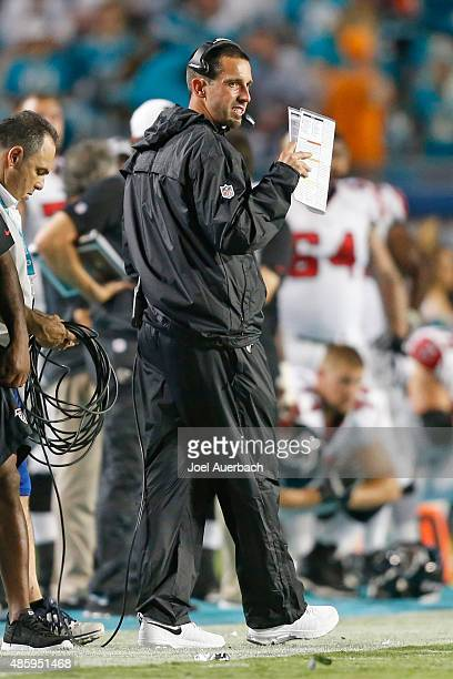 Offensive coordinator Kyle Shanahan of the Atlanta Falcons looks on during third quarter action against the Miami Dolphins during a preseason game on...