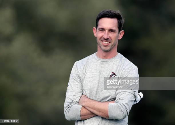 Offensive Coordinator Kyle Shanahan watches a Super Bowl LI practice on February 1 2017 in Houston Texas