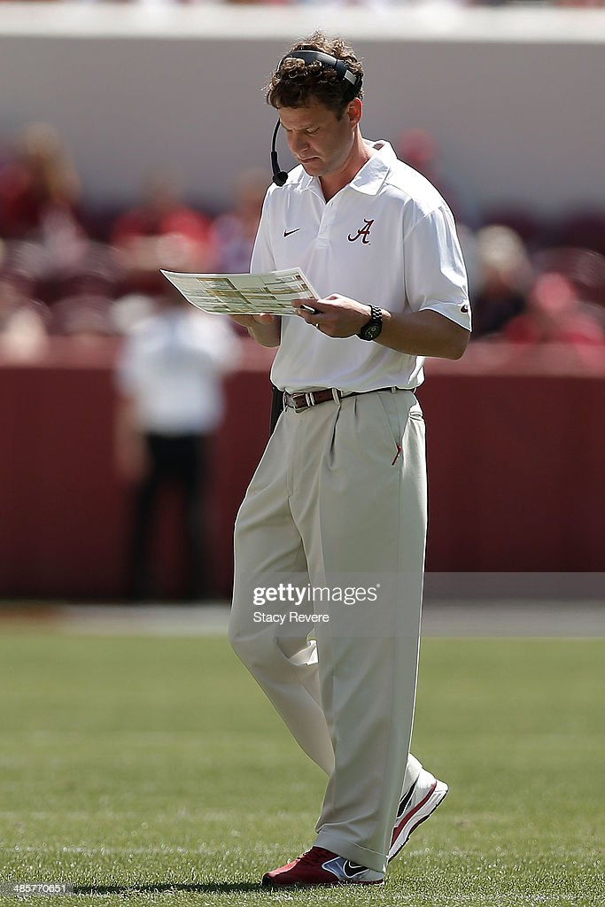 Offensive coordinator Lane Kiffin of the Alabama Crimson Tide calls plays for the Crimson team during the University of Alabama ADay spring game at...