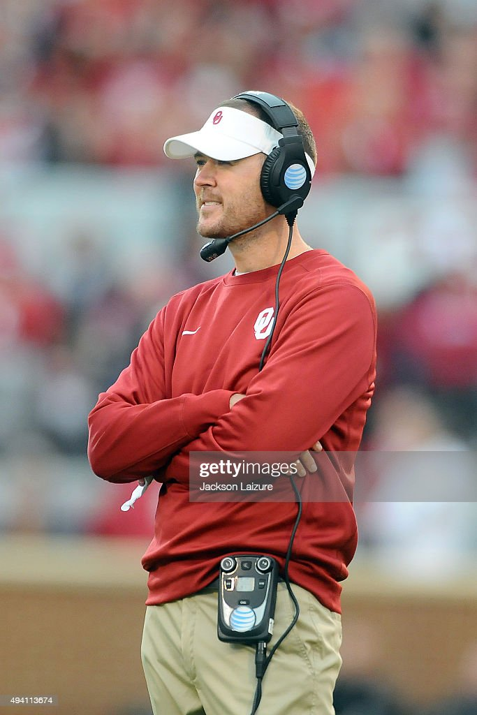 Offensive Coordinator Lincoln Riley of the Oklahoma Sooners watches the game against the Texas Tech Red Raiders on October 24, 2015 at the Gaylord Family Oklahoma Memorial Stadium in Norman, Oklahoma.