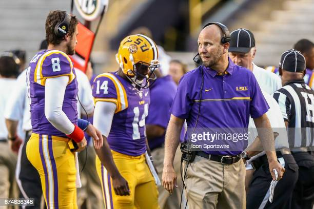LSU offensive coordinator Matt Canada pacing the sidelines during the annual Louisiana State Tigers purplegold spring game at Tiger Stadium on April...