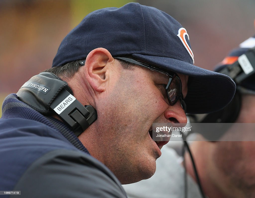 Offensive coordinator Mike Tice of the Chicago Bears gives instructions to the offensive line during a game against the Minnesota Vikings at Soldier Field on November 25, 2012 in Chicago, Illinois. The Bears defeated the Vikings 28-10.