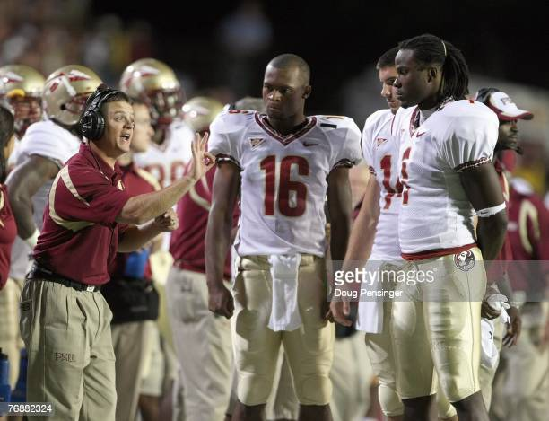 Offensive Coordinator / Quarterbacks coach Jimbo Fisher of the Florida State Seminoles coaches quarterbacks DVontrey Richardson Christian Ponder and...
