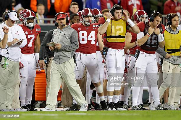 Offensive coordinator Steve Sarkisian of the Alabama Crimson Tide stands on the sideline during the second half of the 2017 College Football Playoff...