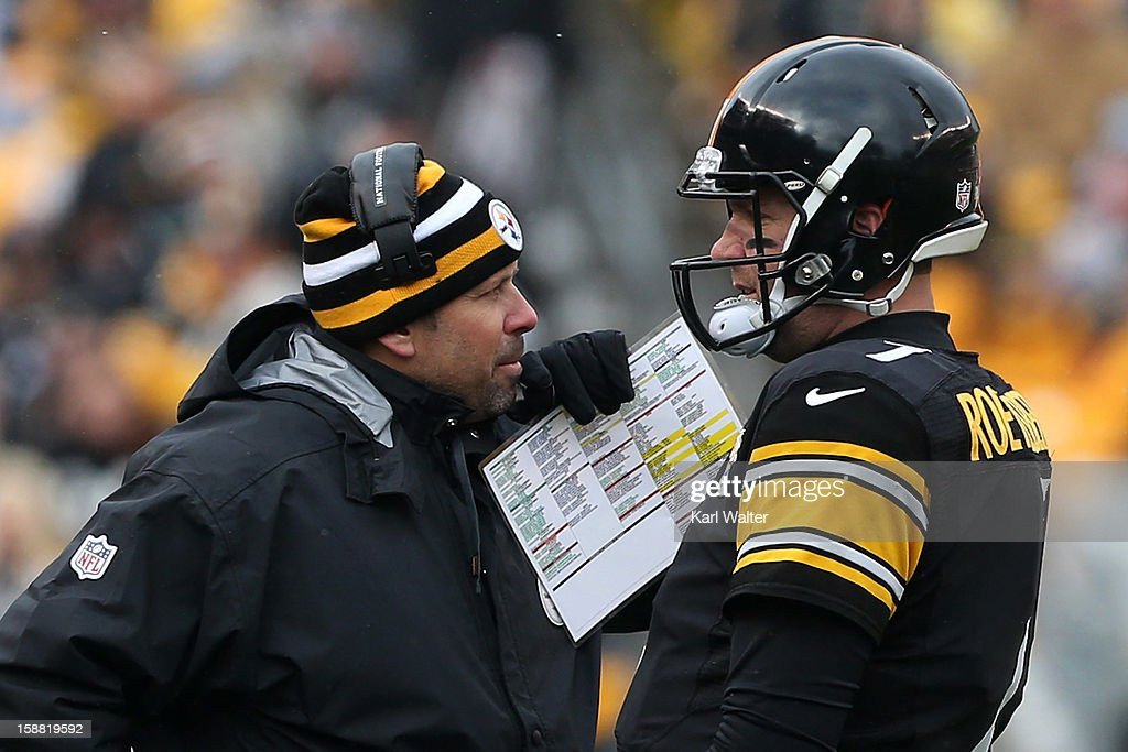 Offensive co-ordinator <a gi-track='captionPersonalityLinkClicked' href=/galleries/search?phrase=Todd+Haley&family=editorial&specificpeople=756528 ng-click='$event.stopPropagation()'>Todd Haley</a> talks to <a gi-track='captionPersonalityLinkClicked' href=/galleries/search?phrase=Ben+Roethlisberger&family=editorial&specificpeople=201605 ng-click='$event.stopPropagation()'>Ben Roethlisberger</a> #7 of the Pittsburgh Steelers during their game against the Clevelend Browns at Heinz Field on December 30, 2012 in Pittsburgh, Pennsylvania.