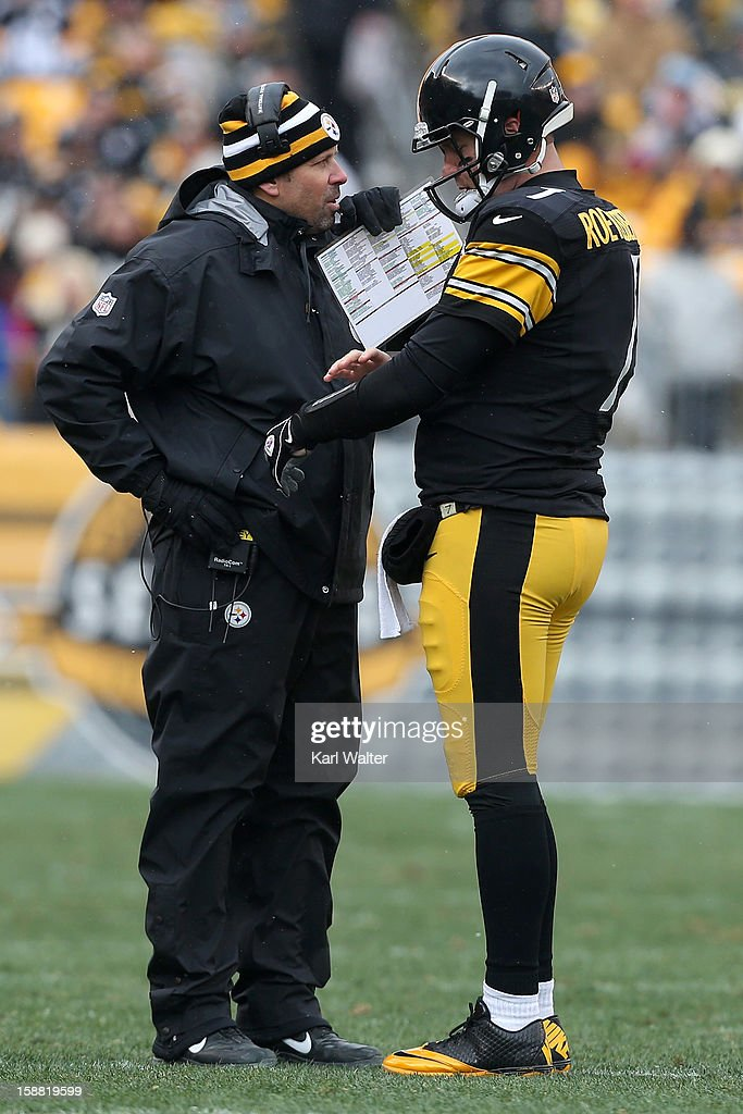 Offensive co-ordinator Todd Haley talks to Ben Roethlisberger #7 of the Pittsburgh Steelers during their game against the Clevelend Browns at Heinz Field on December 30, 2012 in Pittsburgh, Pennsylvania.