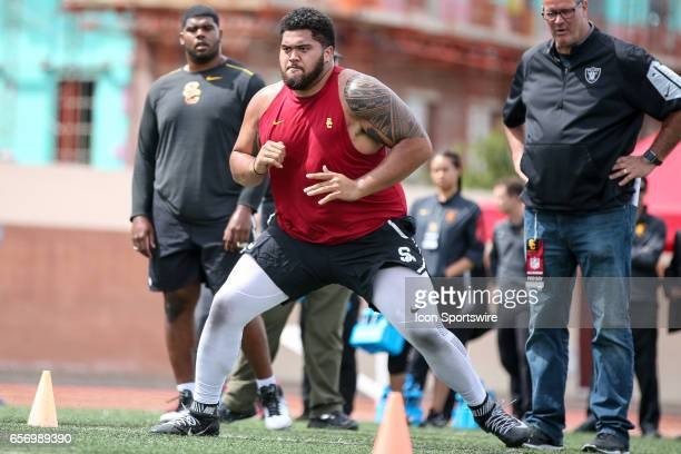 Offensive Guard Damien Mama during drills in front of NFL scouts during the USC Pro Day on March 22 at Loker Stadium in Los Angeles CA