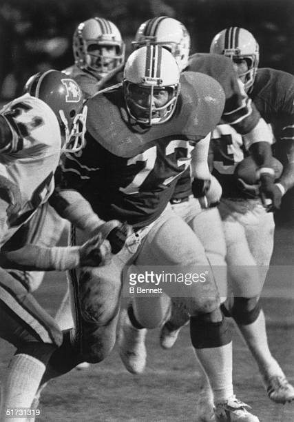 Offensive Guard John Hannah of the New England Patriots prepares to set up a block during a game against the Denver Broncos circa 19731985