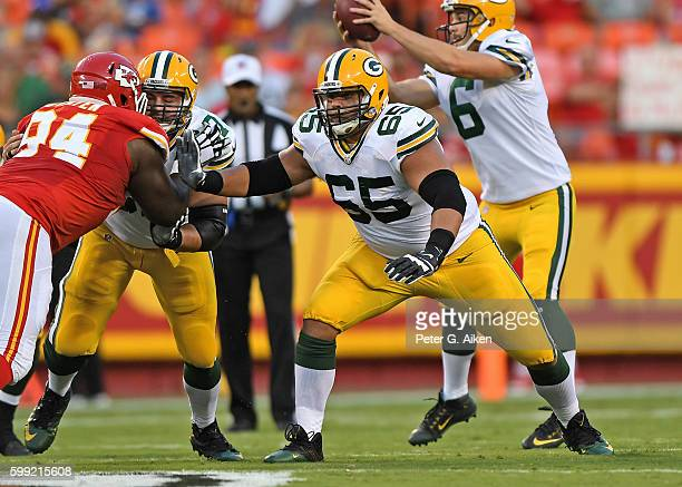 Offensive guard Lane Taylor of the Green Bay Packers gets set on defense against the Kansas City Chiefs during the first half on September 1 2016 at...