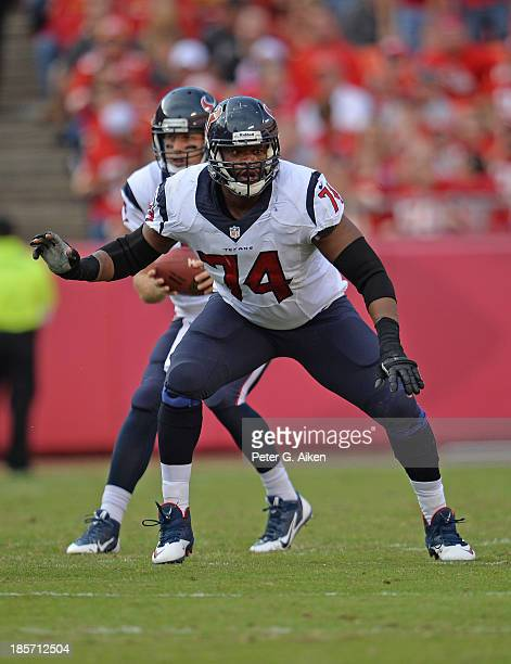 Offensive guard Wade Smith of the Houston Texans gets set on the line against the Kansas City Chiefs during the first half on October 20 2013 at...