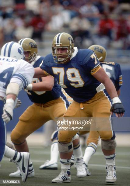 Offensive lineman Bill Fralic of the University of Pittsburgh Panthers blocks during a college football game against the Brigham Young University...