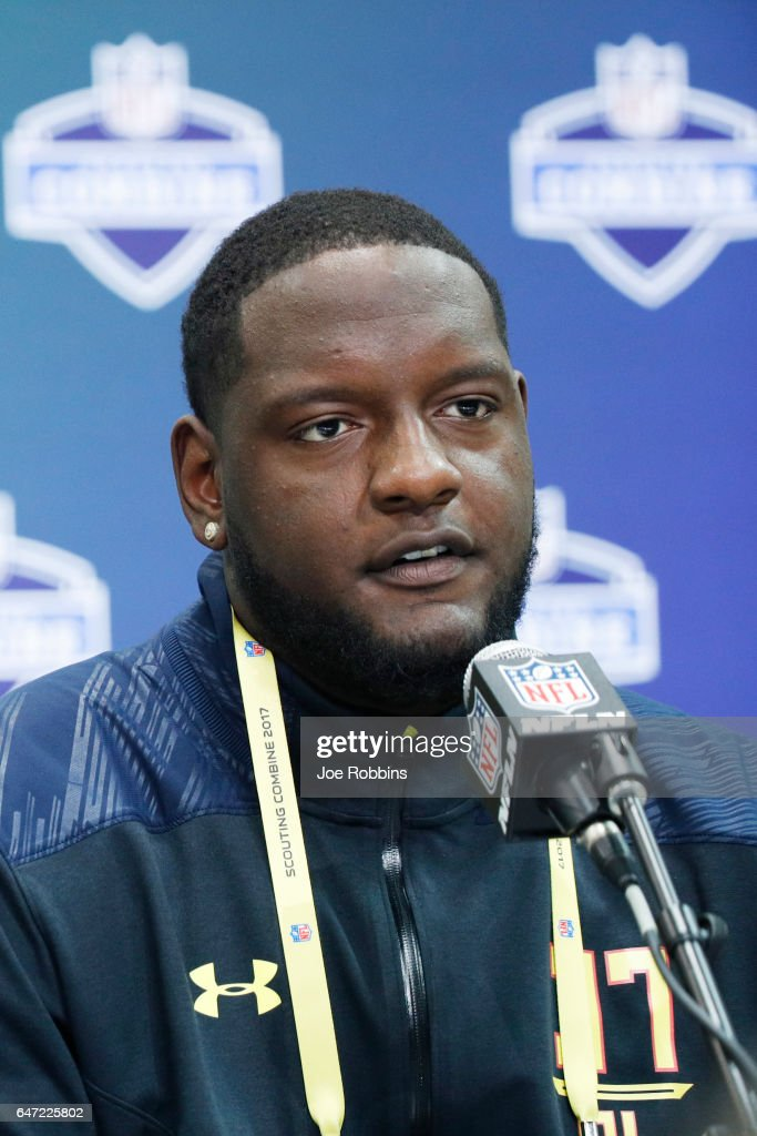 Offensive lineman Cam Robinson of Alabama answers questions from the media on Day 2 of the NFL Combine at the Indiana Convention Center on March 2, 2017 in Indianapolis, Indiana.