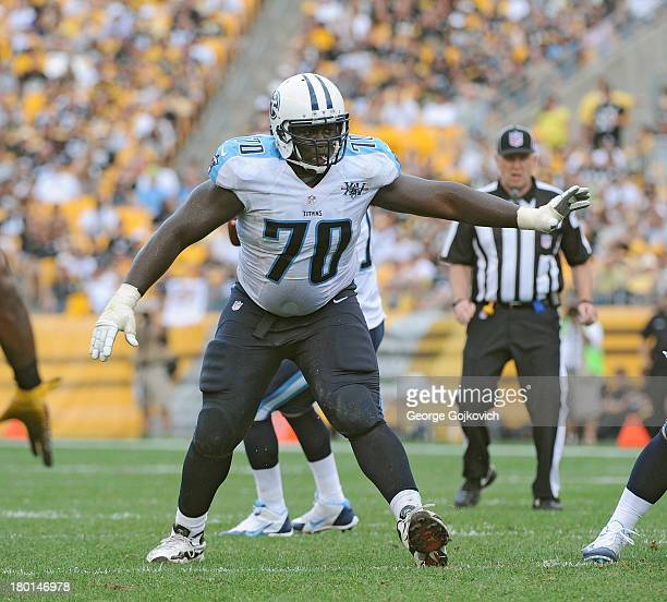 Offensive lineman Chance Warmack of the Tennessee Titans blocks during a game against the Pittsburgh Steelers at Heinz Field on September 8 2013 in...
