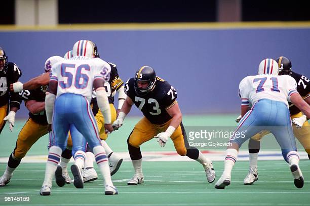 Offensive lineman Craig Wolfley of the Pittsburgh Steelers blocks against the Houston Oilers at Three Rivers Stadium on September 22 1985 in...