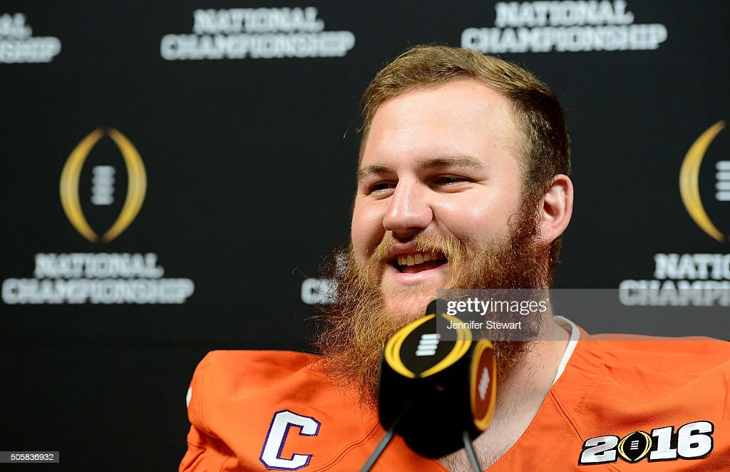 Offensive lineman Eric Mac Lain of the Clemson Tigers addresses the media during Media Day for the College Football Playoff National Championship at...