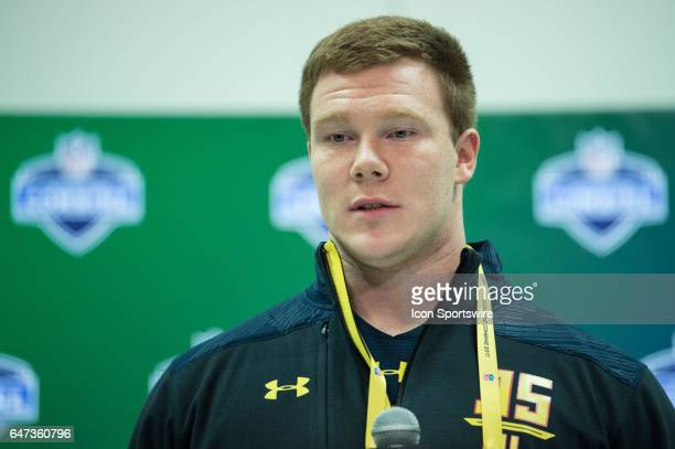 LSU offensive lineman Ethan Pocic answers questions from the media during the NFL Scouting Combine on March 2 2017 at Lucas Oil Stadium in...