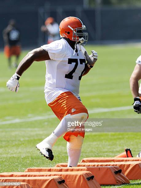 Offensive lineman Floyd Womack of the Cleveland Browns performs an agility drill during the team's organized team activity on May 27 2010 at the...