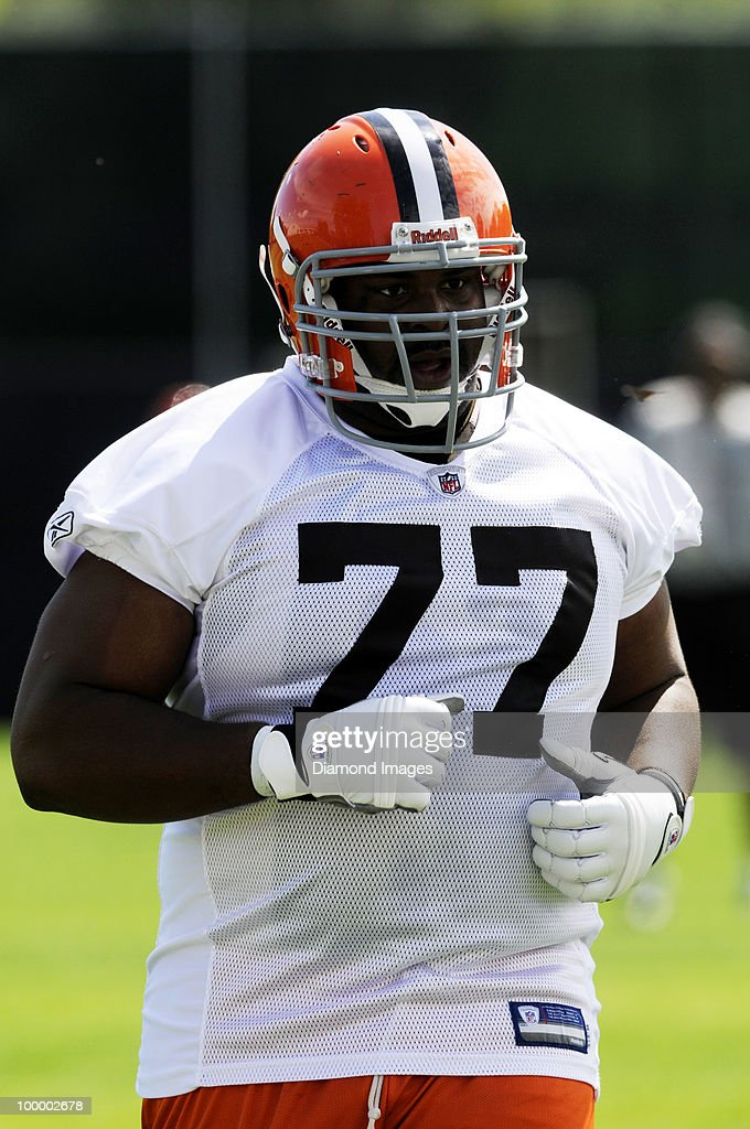 Offensive lineman Floyd Womack #77 of the Cleveland Browns watches a play during the team's organized team activity (OTA) on May 19, 2010 at the Cleveland Browns practice facility in Berea, Ohio.