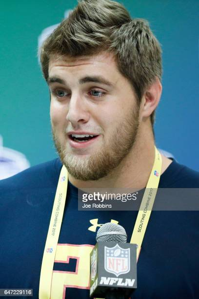 Offensive lineman Forrest Lamp of Western Kentucky answers questions from the media on Day 2 of the NFL Combine at the Indiana Convention Center on...
