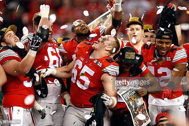 Offensive lineman Pat Elflein of the Ohio State Buckeyes celebrates after defeating the Oregon Ducks 42 to 20 in the College Football Playoff...