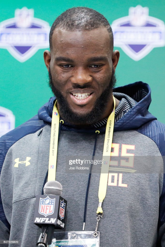 Offensive lineman Roderick Johnson of Florida State answers questions from the media on Day 2 of the NFL Combine at the Indiana Convention Center on March 2, 2017 in Indianapolis, Indiana.