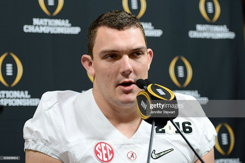 Offensive lineman Ryan Kelly of the Alabama Crimson Tide addresses the media during Media Day for the College Football Playoff National Championship...