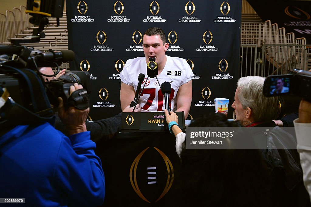 Offensive lineman Ryan Kelly of the Alabama Crimson Tide talks with the media during Media Day for the College Football Playoff National Championship...