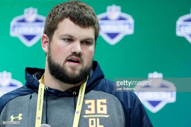 Offensive lineman Ryan Ramczyk of Wisconsin answers questions from the media on Day 2 of the NFL Combine at the Indiana Convention Center on March 2...