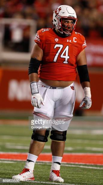 Offensive lineman Salesi Uhatafe of the Utah Utes looks tot he sideline during the second half of an college football game against the Stanford...
